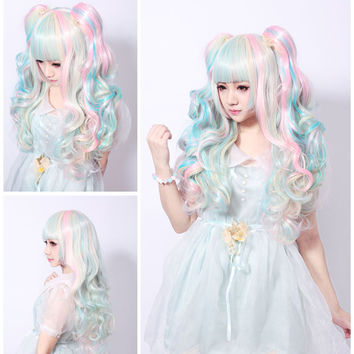 68CM Lolita Wig Pink Blue Mixed Beige Ombre Long Curly Clip-In Ponytails Full Bangs Cosplay Wig Party Wigs Three-Piece Suit