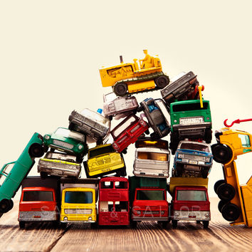 Vintage Matchbox Cars and Trucks Pile With Dozer