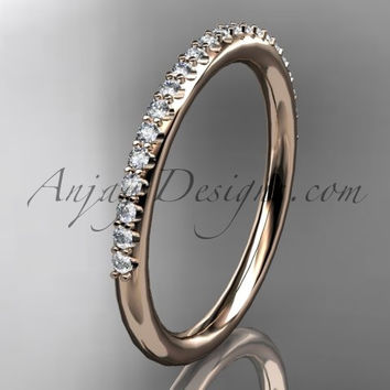 14k rose gold diamond unique wedding ring, engagement ring, wedding band, stacking ring ADER103