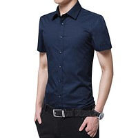 Men Summer Shirt Short Sleeve Solid Color Mens Shirts Casual Slim Fit Men Clothes