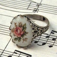 Vintage Cameo Ring - Pink Rose and Silver - $17.50 : RagTraderVintage.com, Handmade Indie Retro Accessories