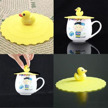 1Pcs Novelty Cute Anti-dust Silicone Drink Cup Cover Coffee Tea Suction Seal Lid Cap Silicone Cup Covers