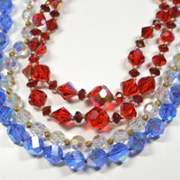 Vintage Aurora Borealis Necklace LOT Red Clear Blue AB Beaded Necklaces Vintage Necklace Lot Vintage Jewelry Lot AB Necklaces