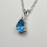 Genuine 2.5ct London Blue Topaz & Sapphire Sterling Silver Necklace / Pendant - FREE CHAIN