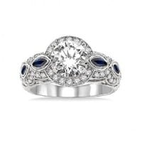 1/2ct tw Diamond and Blue Sapphire Halo Engagement Ring Setting in 14K White Gold