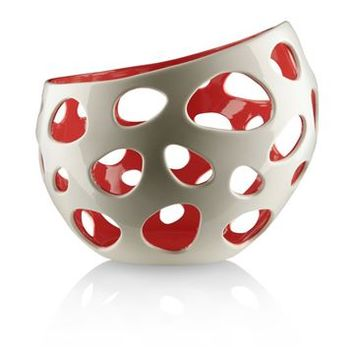 Alessi Baby Citrus Basket - White/Red - Style # WhiteRed-FM20-W, Modern Glass Bowl – Fruit Bowl – Wire Basket – Crystal Bowl – Serving Bowls – Centerpiece Bowls   Contemporary Serving Bowls   SwitchModern.com
