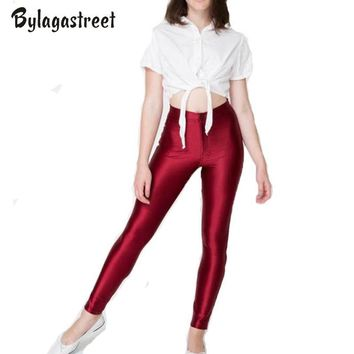 Women Fashion Plus Size XL 2017 Brand New High Waist Candy Color Shiny Dance Disco Pants American A Pencil Workout Pants Hot