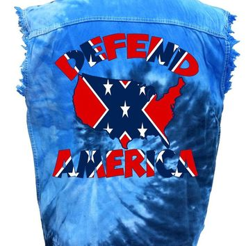 Men's Rebel Flag Sleeveless Denim Shirt Defend America Tie Dye Vest