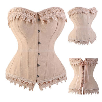 Lace Up Corsets And Bustiers Overbust Waist Trainer Embroidery Sexy Boned Satin Corset Burlesque Costumes Corselet TYQ