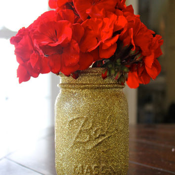 Gold Glitter Mason Jar (Pint Sized)