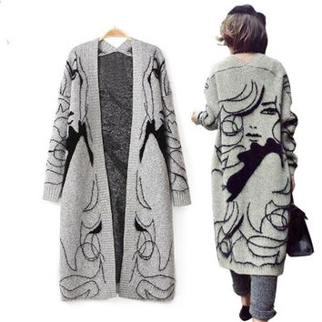 Autumn Winter Hot Sell Women's Mohair Blend Warm Long Flocking Image Sketch Cardigan Sweater Long Sleeves Women Knitwear Coat
