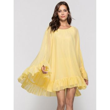 Ruffle Hem Batwing Sleeve Dress