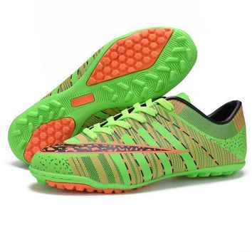 Green Womens Mens Football Soccer Sports Shoes Running Sneakers