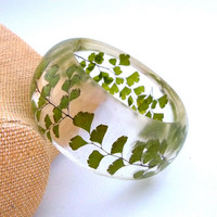 Fern Resin Bangle Green Bangle Bracelet by SpottedDogAsheville