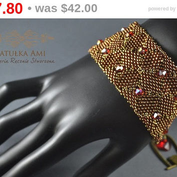 SUMMER SALE Braided bracelet with crystals beadwork, beads, gift for her