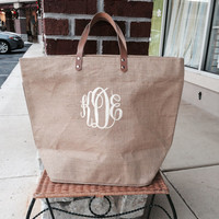 Monogrammed Natural Colored Jute Bag Font shown MASTER CIRCLE in ivory
