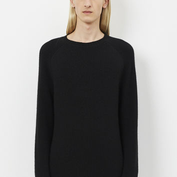 Totokaelo - Deveaux Black 1 X 1 Ribbed Crew Neck - $695.00
