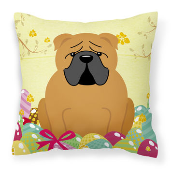Easter Eggs English Bulldog Red Fabric Decorative Pillow BB6122PW1414
