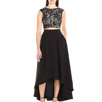 Aidan Mattox - Aidan by MN1E200681 Two Piece Lace High Low A-line Gown