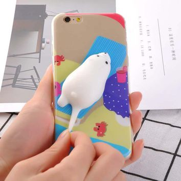 3D Cartoon Squishy Seas Dolphin Phone Cases For iPhone 7 6 6s Plus Case Funny Pressure Release toys Soft Silicone Back Cover New