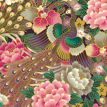 Exquisite Peacocks in Floral Garden -  Purple Asian Japanese Oriental Fabric (Per 1/2 Yd)