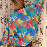 80s Pastel Abstract Geometric Bomber Silk Jacket Oversized Zipper Tropical Unisex   //SuzNews//