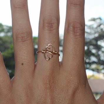 Gold Wire Double Hearts Ring - Heart To Heart Ring Adjustable