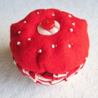 Red and White Cupcake Trinket Box