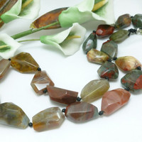 Chalcedony Brown Green Red Gemstone Polished Gemstone Beaded Necklace