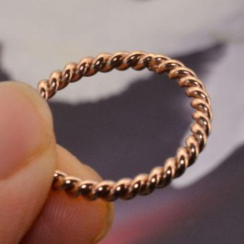 Simple Twist Knuckle Rings Small Section Tail Ring Plating 18k Rose Gold Small Ring