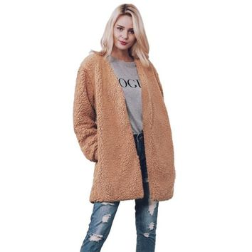 KLV 2017 Brown Women Warm Faux Fur Long Sleeve Jacket Coat Solid Waist coat Outerwear faux fur coat winter jacket women cardigan