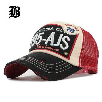 LMFON [FLB] Brand Baseball Mesh Cap Men Women Cotton Outdoor Dad Hat Embroidery Casual Sport