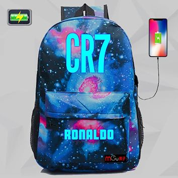 New Arrival cristiano ronaldo Backpack USB Juventus Bag For Teens Back to School Bag Student Bookbags Travel Gift Bagpack H242