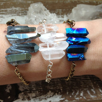 SPECTRA / Raw Quartz Crystal Stacking Bracelet - Clear Quartz Point Rainbow Aura Druzy Gemstone Chevron, Nature Inspired, Spring, Summer