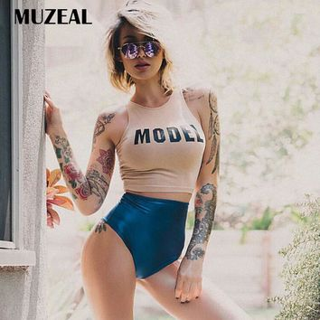 MUZEAL Summer Sexy Girls Vest Sleeveless Crop Top T Shirts Hot Young Lady Fitted Tees Party Club Sexy Cropped Tee Shirts 234