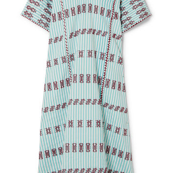 Pippa Holt - Embroidered striped cotton kaftan