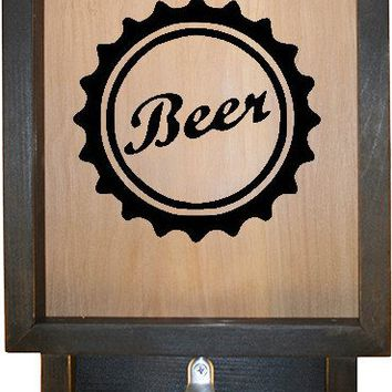 "Wooden Shadow Box Bottle Cap Holder with Bottle Opener 9""x15"" - Beer Cap"