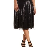 Sequin Full Midi Skirt by Charlotte Russe - Black
