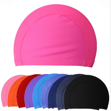 1pc New Fabric Siwm Pool Swimming Cap Hat Adult swimming cap surf hat Protect Ears Long Hair Sports Swim  cap 5 Colors