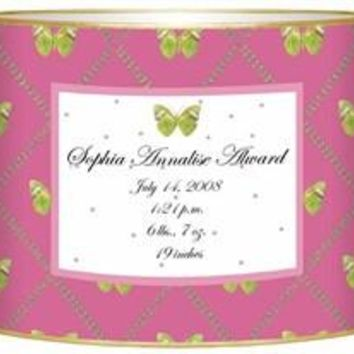 Birth Announcement Personalized Baby Bin   Butterfly
