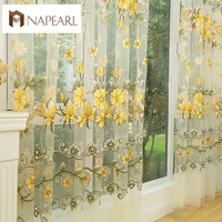 Fashion design modern transparent tulle curtains for window treatments living room