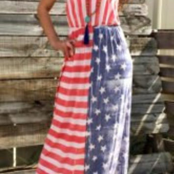 Strapless American Flag Pattern Patchwork Dress
