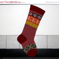 Hand Knit Christmas Stocking with Claret Red Cuff, Pink Snowflakes and Aran Trees, Fair Isle Christmas Stocking, can be personalized