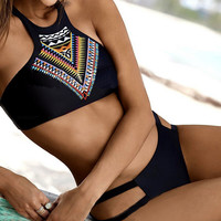 Ethnic Bikini Set Swimsuit Summer + Free Gift Summer Necklace