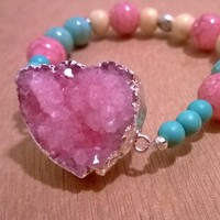 Druzy-Turquoise-Lotus Bracelet -Pink from Pelhuaz by Red