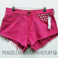 Handmade Vintage Low Rise Studded Pink Shorts  by peaceloveandotherstuff