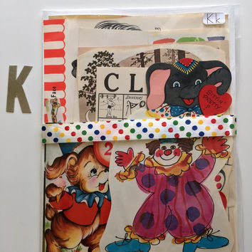 Vintage Ephemera Paper Pack CIRCUS Carnival Mid Century Valentines Greeting Cards Inspiration Kit Embellishment Kit Junk Journal Smash Book