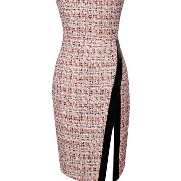 Quentea Multi Color Tweed Strapless Thigh Split Dress