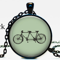 SteamPunk  Steam Punk Vintage Retro Hipster Bike Pendant Necklace Jewelry Resin Coated Art Print Pale Mint Green