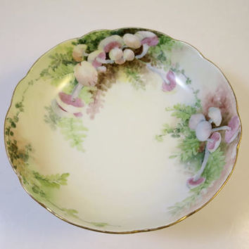 Antique Footed Bowl  Porcelain China Hand Painted Pink Mushrooms Green Ferns Scalloped Gilt Rim Signed AKD France 1901 Edwardian Victorian